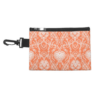 Luxury Coral and White Damask Pattern Decorative Accessories Bags