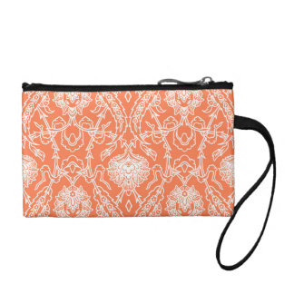 Luxury Coral and White Damask Pattern Decorative Coin Purse