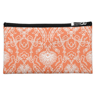 Luxury Coral and White Damask Pattern Decorative Makeup Bag