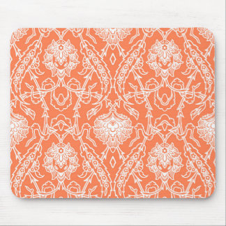 Luxury Coral and White Damask Pattern Decorative Mouse Pad