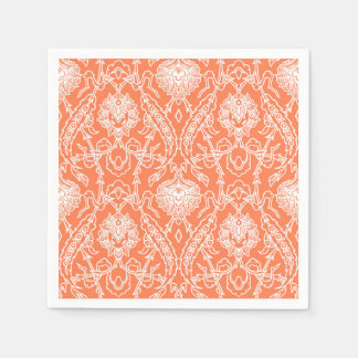 Luxury Coral and White Damask Pattern Decorative Paper Napkin