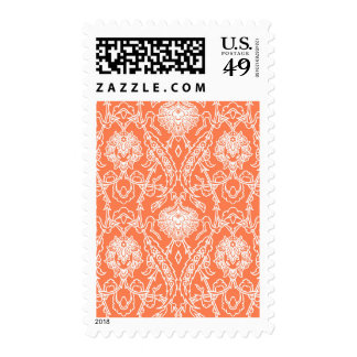 Luxury Coral and White Damask Pattern Decorative Stamp