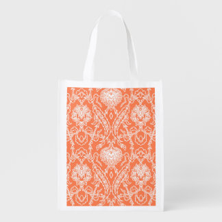 Luxury Coral and White Damask Pattern Decorative Reusable Grocery Bags
