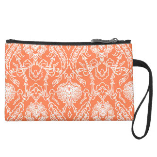 Luxury Coral and White Damask Pattern Decorative Suede Wristlet Wallet
