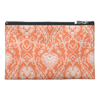 Luxury Coral and White Damask Pattern Decorative Travel Accessory Bag