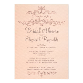 Luxury Coral Bridal Shower Invitations Cards