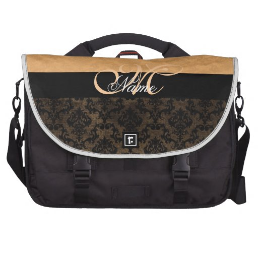 Luxury Coral Damask Monogram Laptop Bag Computer Bag