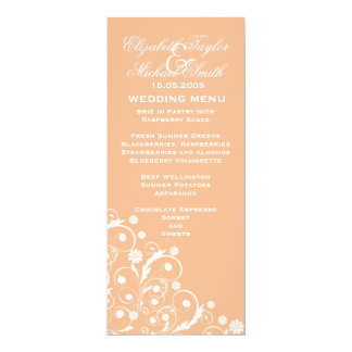 Luxury Coral Floral Spring Swirls Wedding Menu Card