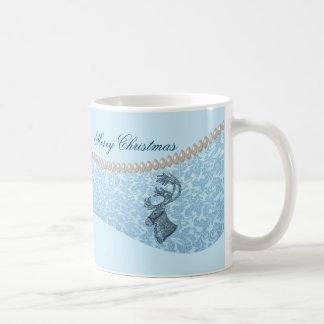 luxury damask  pearls  Christmas holiday reindeer Coffee Mug