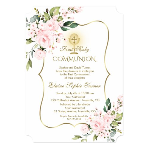 Luxury Delicate Blush Floral Gold Holy Communion Invitation