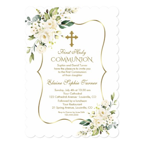 Luxury Delicate White Flowers First Holy Communion Invitation