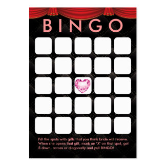 Luxury Diamond Heart Bridal Shower 5x5 Bingo Card Business Card