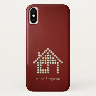 Luxury Diamond Home | Red Background iPhone X Case