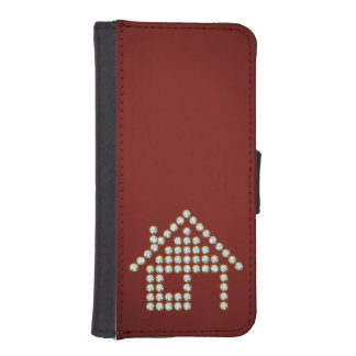 Luxury Diamond Home | Red Background Wallet Phone Case For iPhone SE/5/5s