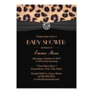 Luxury Diamond & Leopard Print Baby Shower Card