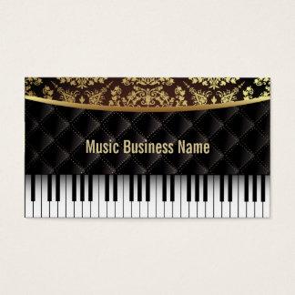 Luxury Diamond Pattern Piano Lessons Business Card