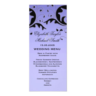 Luxury Elegant Black/Blue Floral Wedding Menu Card