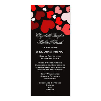 Luxury Elegant Black/Red Hearts Wedding Menu Card