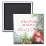 Luxury Elegant Christmas Winter Save the date 2 Inch Square Magnet