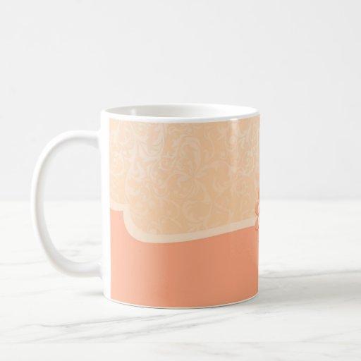 Luxury Elegant Coral Damask Mug Mugs