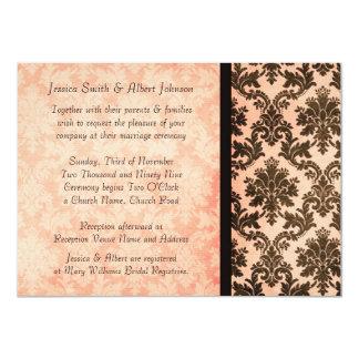 Luxury Elegant Damask Coral Rose Wedding Invite