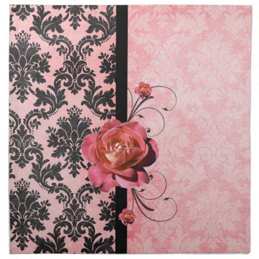 Luxury Elegant Damask Pink Rose Napkins Napkins