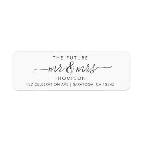 Luxury Elegant Future MR and MRS Script Modern Label