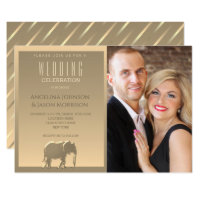 Luxury Elegant Gold Foil Elephant Wedding Photo Invitation