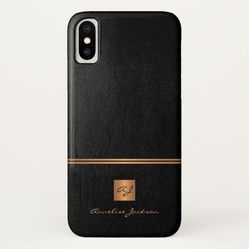 Luxury elegant gold glitter black monogrammed iPhone x case