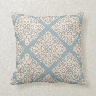 Luxury Elegant Light Blue Floral Ornament Throw Pillow