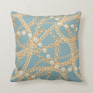Luxury Elegant Light Blue Pearls Ornament Chain Throw Pillow