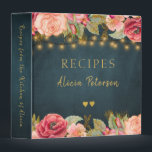 "Luxury elegant navy blush gold floral recipes binder<br><div class=""desc"">Romantic vintage Victorian style roses borders,  two golden hearts and elegant typography script on a dark midnight navy blue chalkboard background making a beautiful personalized recipe binder keepsake. ---- It can be a beautiful present for your own kitchen or a gift for a chef!</div>"