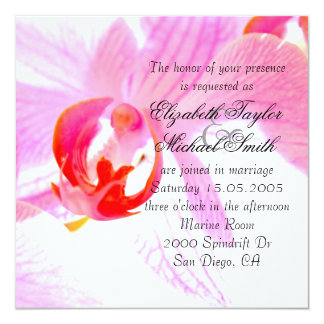 Luxury Elegant Pink Orchid Wedding Invite