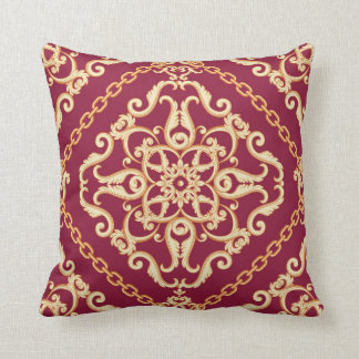 Luxury Elegant Red Gold Chain Floral Ornament Throw Pillow