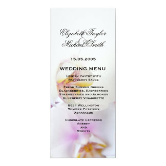 Luxury Elegant White Orchid Wedding Menu Card