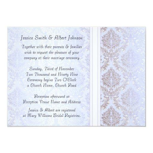 Luxury Elegant Winter Blue Damask  Wedding Invite Invitation