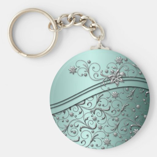 Luxury Emerald Damask Swirls Keychain Key Chains