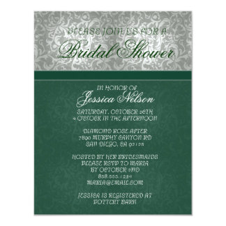 Luxury Emerald Floral Damask Bridal Invitation