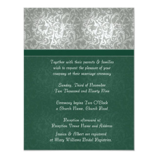 Luxury Emerald Floral Damask  Wedding Invitation