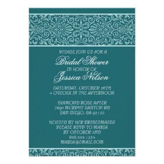 Luxury Emerald Lace Elegant Bridal Shower Invite Personalized Invite