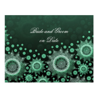 Luxury Emerald Winter Snowflakes Save date card