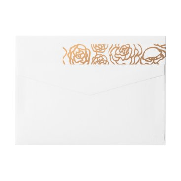 wedding_trends_now Luxury Faux Gold Foil Floral Wedding Modern Wrap Around Label
