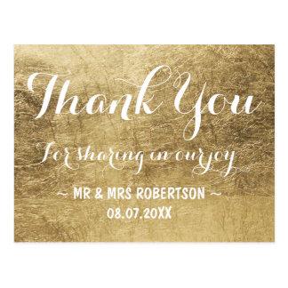 Luxury faux gold leaf thank you postcard
