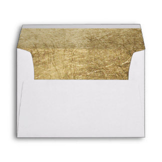 Luxury faux gold leaf wedding envelope