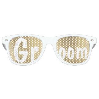 Luxury faux gold leaf wedding Groom Retro Sunglasses