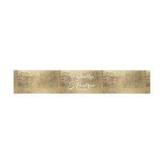 Luxury faux gold leaf wedding invitation belly band
