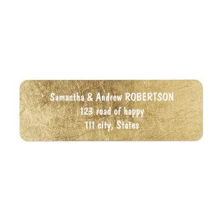 Luxury faux gold leaf wedding label