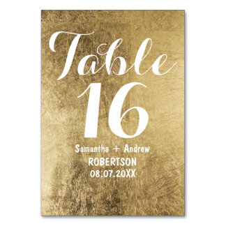 Luxury faux gold leaf wedding table number card