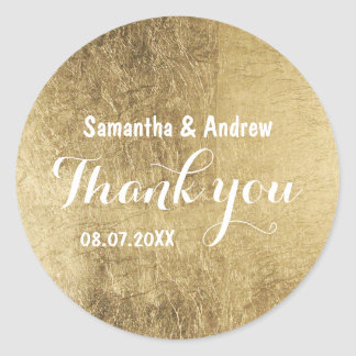Luxury faux gold leaf wedding Thank you Classic Round Sticker