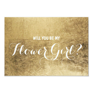 Luxury faux gold leaf Will you be my flower girl Card